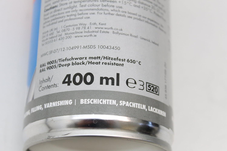 Würth barniz spray especial RAL9005 Mate 400 ML - Resistente al calor hasta 650 °C: Amazon.es: Coche y moto