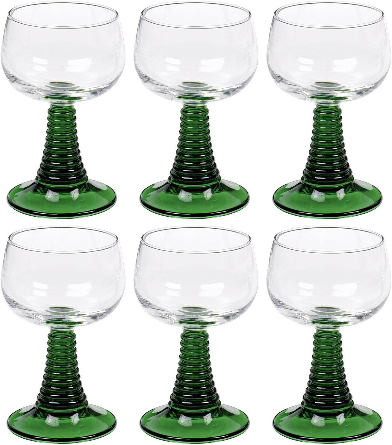 6 R/ömer R/ömergl/äser Gr/ün Weingl/äser Wein Gl/äser Glas 27 cl 0,2 L Geeicht