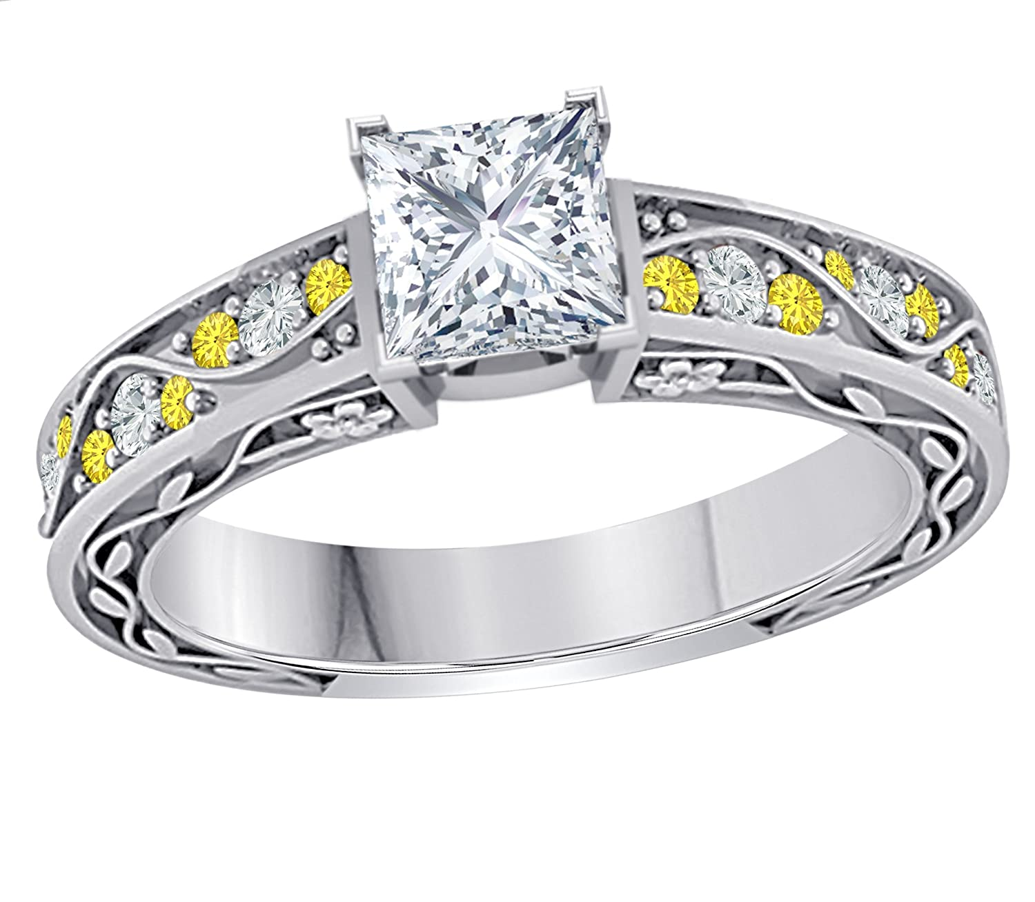 Gems and Jewels Stunning 1.00 CT Princess Cut Cubic Zirconia /& CZ Yellow Sapphire .925 Sterling Silver Plated Promise Engagement Wedding Ring Gift