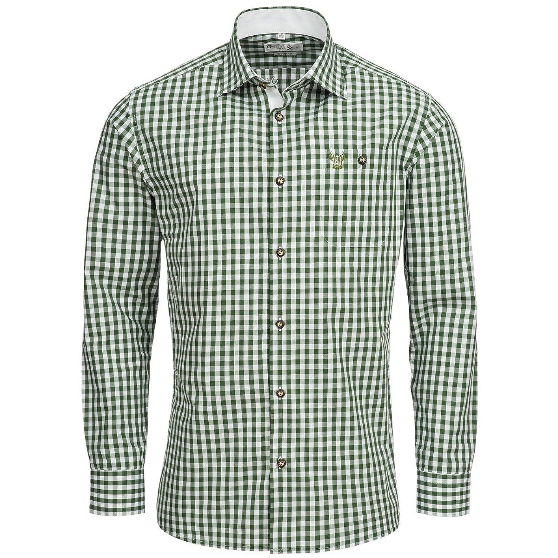 Trachtenhemd Body Fit in Dunkelgrün von Gweih & Silk