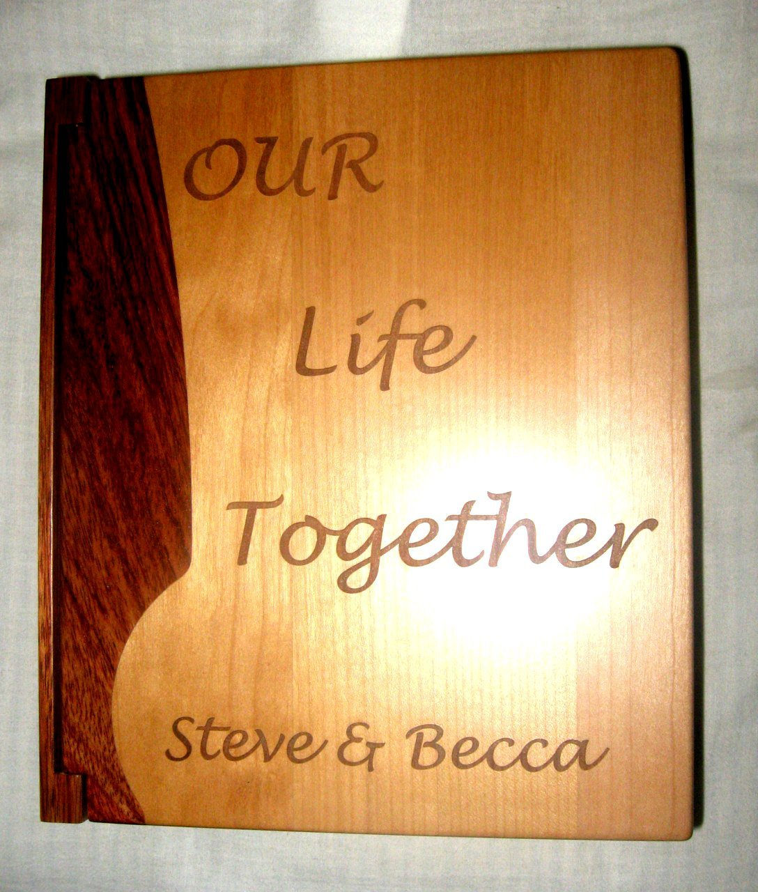 Custom Engraved Wooden Wedding Photo Album ''Our Life Together'' - Large