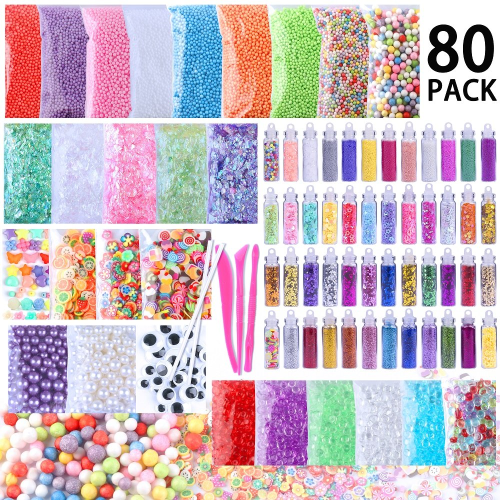 Slime Supplies Kit, 80 Pack Slime Beads Charms Includes Floam Foam Beads, Fishbowl Beads, Glitter Jars, Slices, Pearl, Colorful Sugar Paper Accessories and Slime Tools for DIY Slime Making By WINLIP new form beads