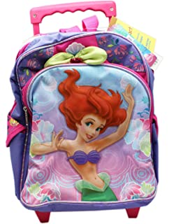 Disneys The Little Mermaid Ariel Purple and Pink Colored Rolling Kids Backpack (12in)