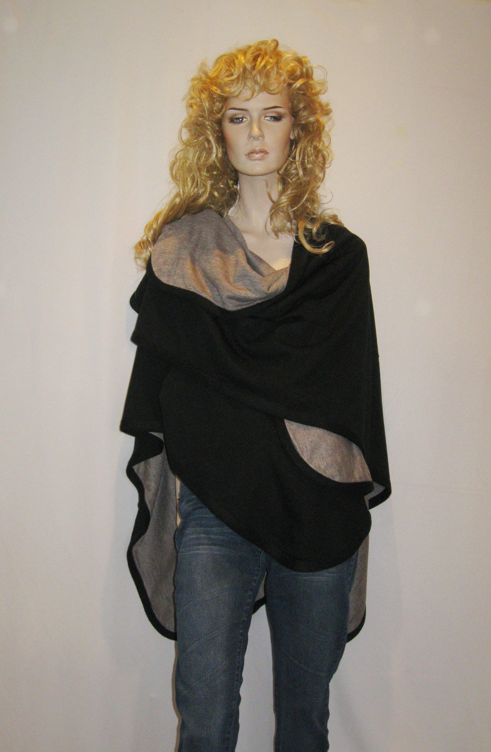 Cashmere Pashmina Group- Cape Woolen Reversible Ruana Knitted Poncho Shawl Cardigans Sweater Coat (Black/ Stone) by Cashmere Pashmina Group (Image #9)