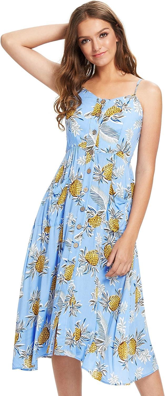 Milumia Women Summer Spaghetti Strap Button Down Floral Print Dress with Pockets