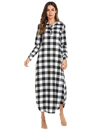 Ekouaer Nightgown Womens Classic Pajama Redblackblue Sleep Dress