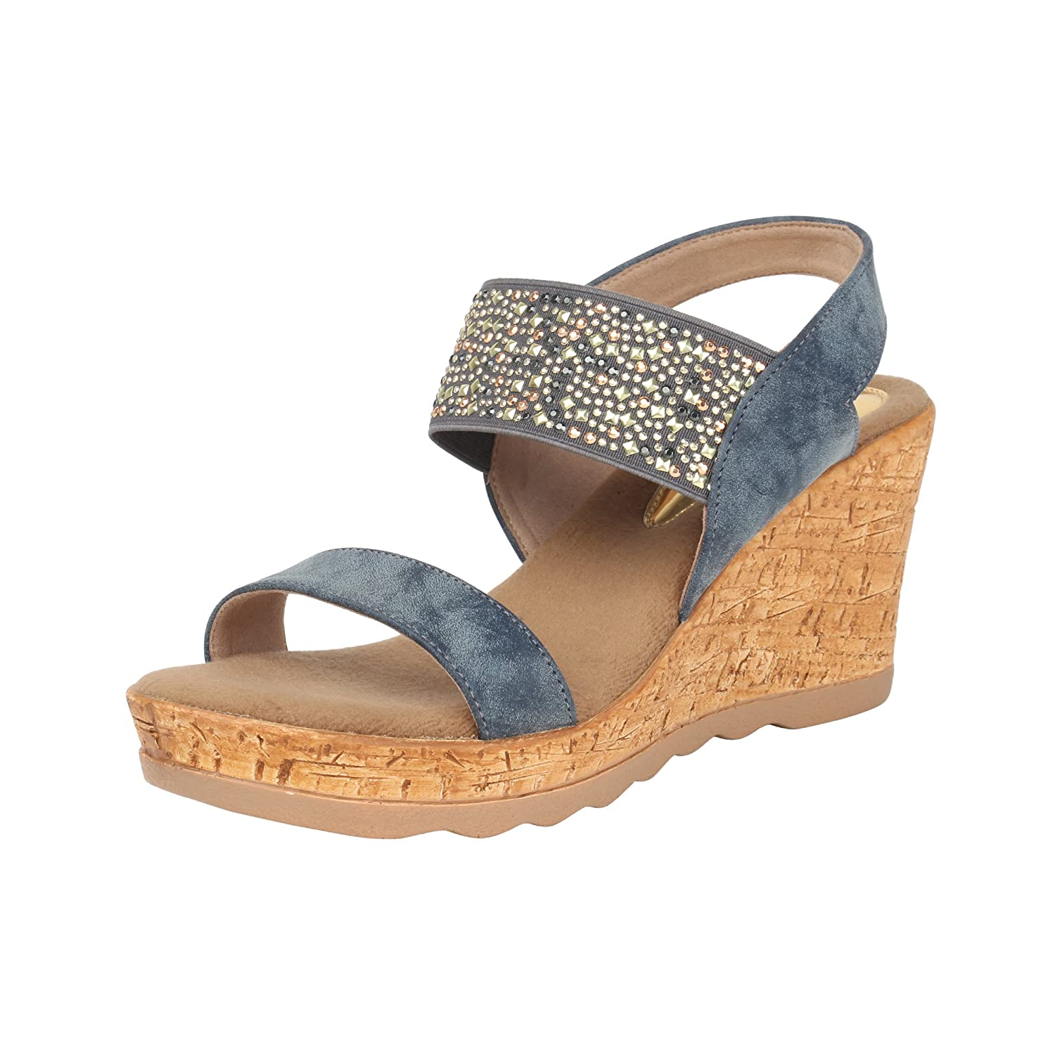 20e3ef275 Catwalk Blue Wedges Heel Sandals  Buy Online at Low Prices in India -  Amazon.in