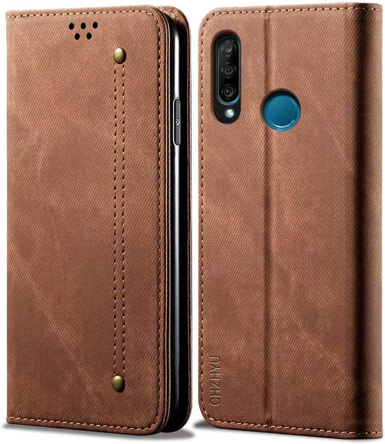Premium Leder Flip Doppelte Schutzh/ülle Case Cover Kartenf/ächer Blau CHZHYU Handyh/ülle f/ür Huawei P30 Lite Standfunktion Magnetverschluss f/ür Huawei P30 Lite