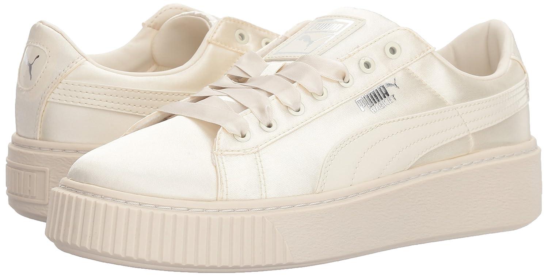 PUMA Girls' Basket Platform Tween Sneaker, Whisper White