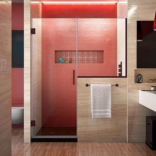 DreamLine Unidoor Plus 57-57 1 2 in. W x 72 in. H Frameless Hinged Shower Door with 36 in. Half Panel in Oil Rubbed Bronze, SHDR-24273036-06