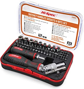 Hi-Spec 61 Piece Sockets & Driver Bits with Ratchet Handles Set for Repair & Opening of Laptops, Computers, Electronic Devices, Appliances, Game Consoles & Mobile Phones in a Storage Tray Box