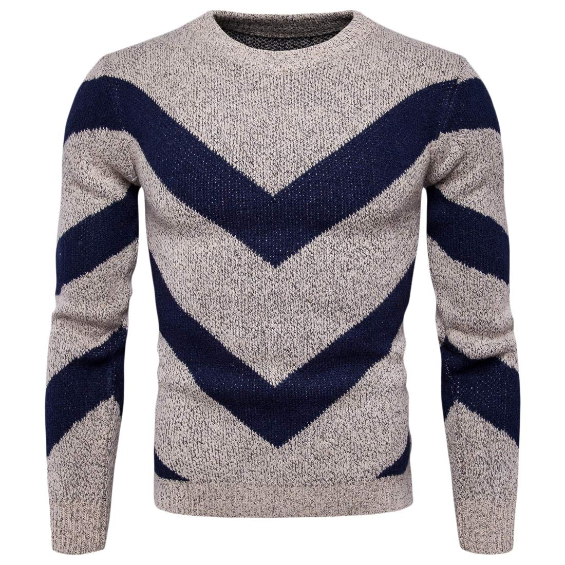 Zimaes-Men Casual Loose British Style Knit Crew-Neck Pullover Sweater
