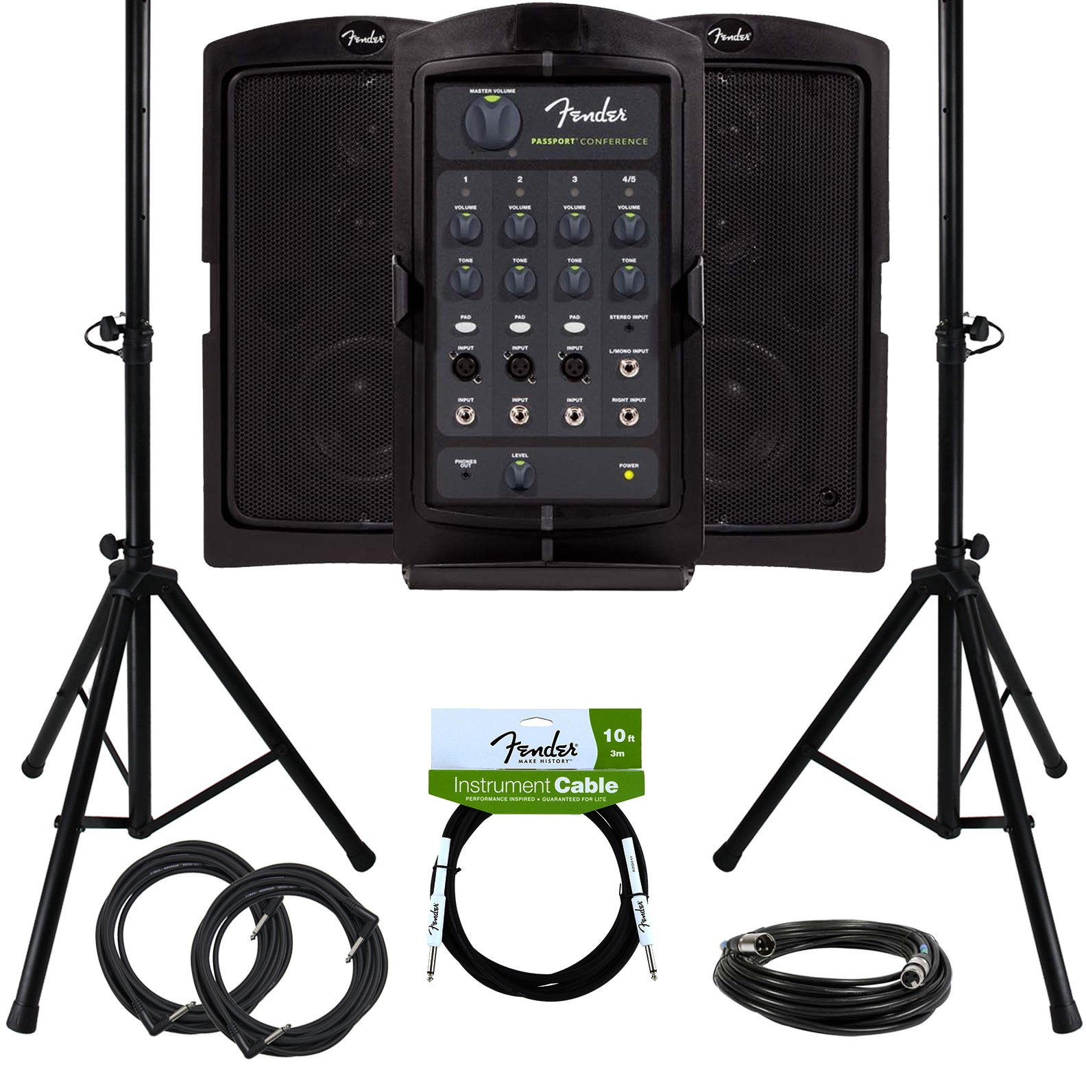 Fender Passport Conference Portable PA System Bundle with Speaker Stands, XLR Cable, Instrument Cable, and Austin Bazaar Polishing Cloth