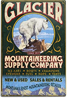 product image for Lantern Press Glacier National Park, Montana, Mountain Goat Vintage Sign (12x18 Aluminum Wall Sign, Wall Decor Ready to Hang)