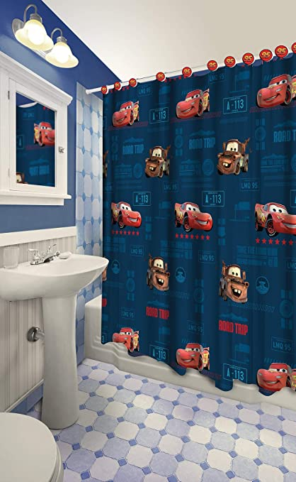 Disney All New Fabric Shower Curtain Set With 12 Matching Hooks Cars