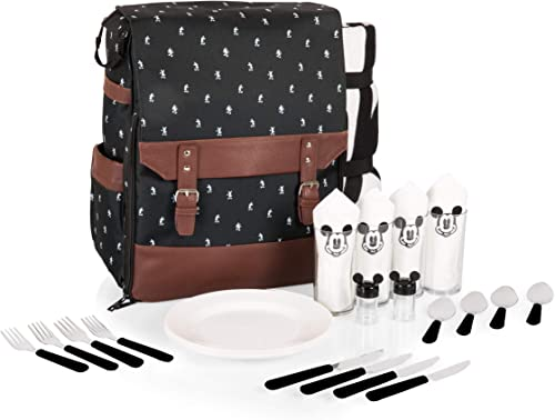 Disney Classics Mickey Mouse Insulated Picnic Backpack with Service for Four