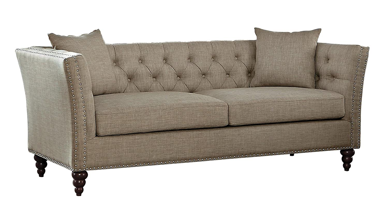 Amazon.com: Homelegance Marceau Tuxedo Style Sofa with Flared Arm and  Double Nailhead Accent, Button Tufted with Two Toss Pillows, Tan: Kitchen &  Dining