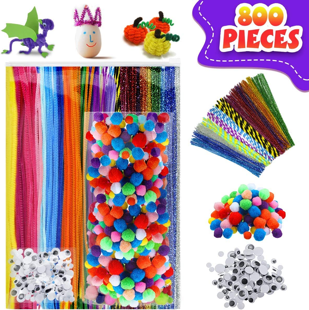 250pcs Assorted Pompoms 40 Assorted Colors Pipe Cleaners Pipe Cleaners for DIY Art Craft Decorations 800pcs Preschool Craft Supply Kit 150pcs Wiggle Eyes JOYXEON Chenille Stems for DIY Crafts
