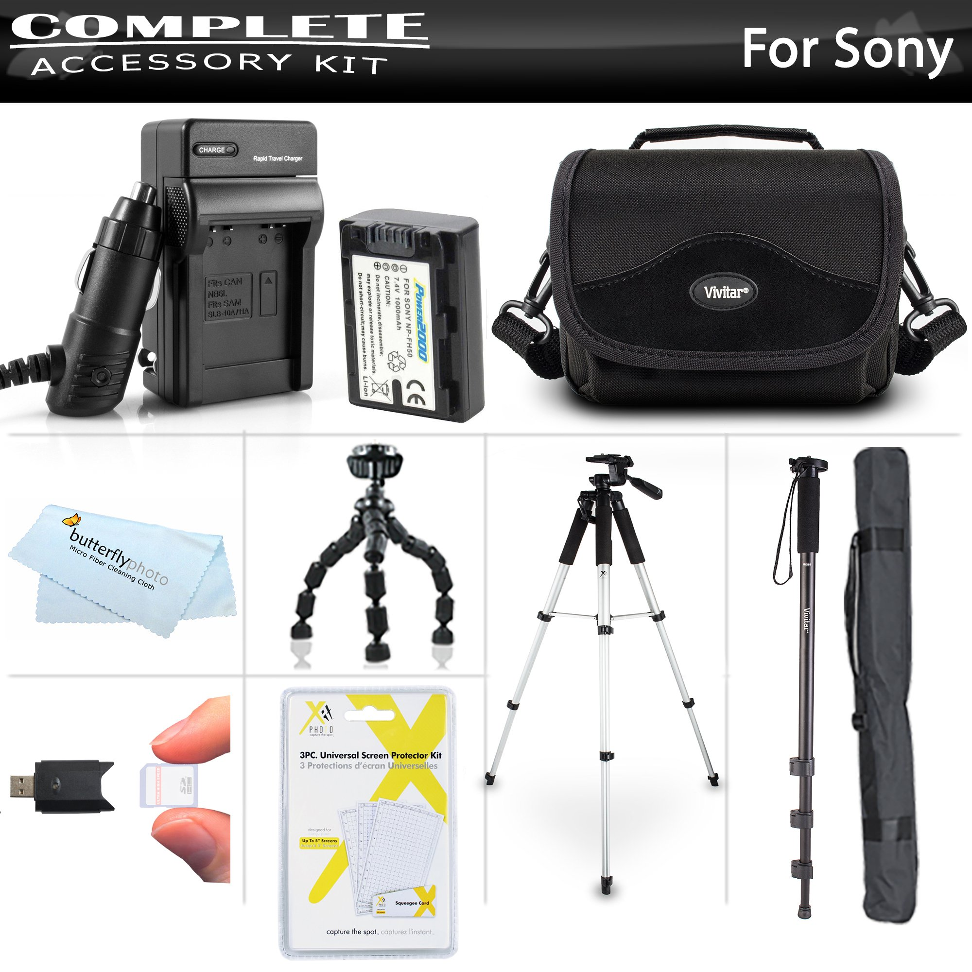 Advanced Accessory Kit For Sony Cyber-Shot DSC-HX100V, DSC-HX200V Digital Camera Includes Extended (1000mAh) Replacement NP-FH50 Battery + Ac/Dc Travel Charger + Deluxe Case + 57'' Pro Tripod + 67'' Monopod + Screen Protectors + More