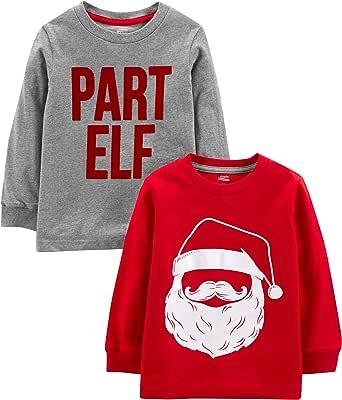 Simple Joys by Carter's 2-Pack Christmas Long-Sleeve Tees Bebé-Niños