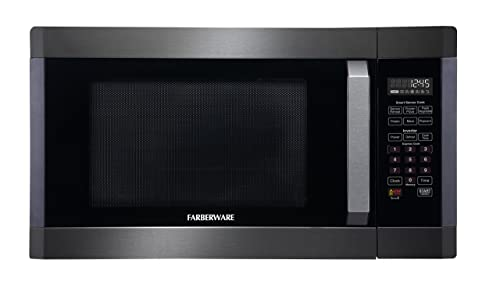Farberware Black FMO16AHTBSA 1.6 Cubic Foot 1300-Watt Microwave Oven with Smart Sensor and Inverter Technology, Black Stainless Steel