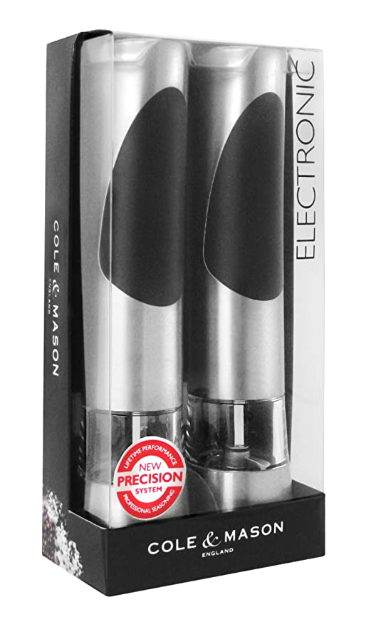 COLE U0026 MASON Richmond Electric Salt And Pepper Grinder Set   Stainless  Steel Electronic Mills Include