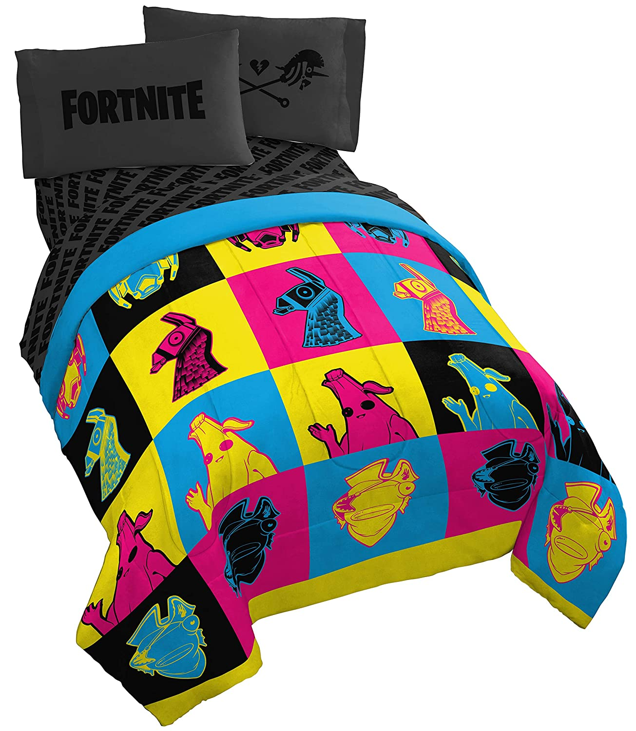 Fortnite Neon Warhol 5 Piece Full Bed Set - Includes Reversible Comforter & Sheet Set - Bedding Features Llama, Peely, & Vertex - Super Soft Fade Resistant Microfiber - (Official Fortnite Product)