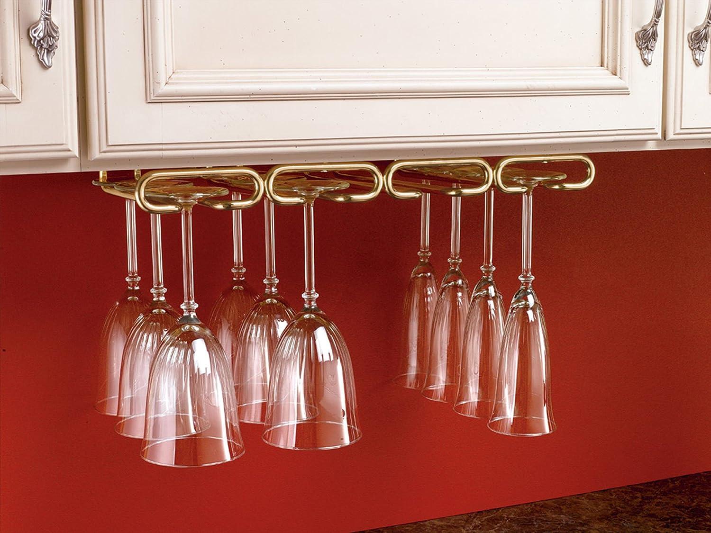 Amazon.com - Rev-A-Shelf - 3450-11SN - 11 in. Satin Nickel Under Cabinet  Quad Wine Glass Holder - Cabinet Stemware