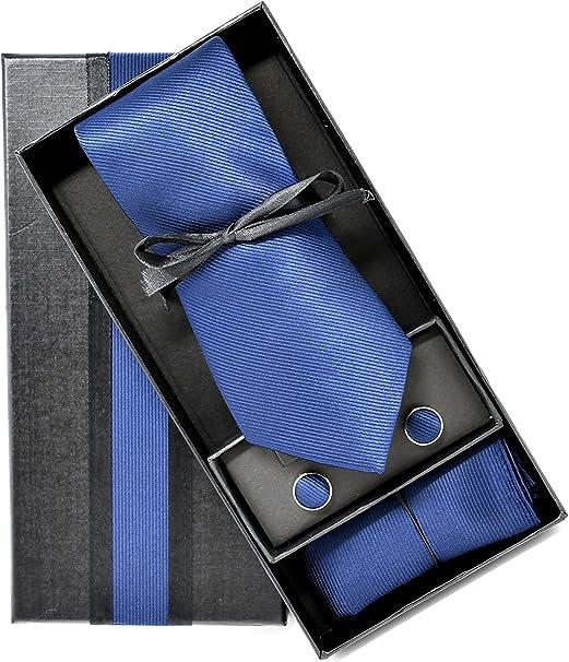 Corbata de hombre, Pañuelo de Bolsillo y Gemelos Azul Marino - 100 ...