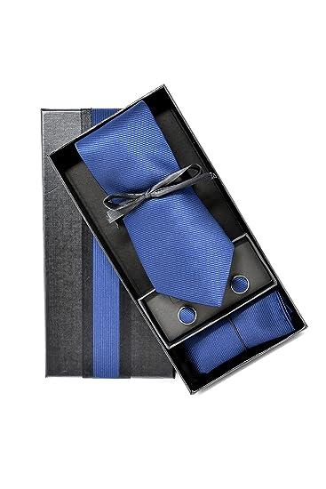 f2851e5b21197 Coffret Ensemble Cravate Homme, Mouchoir de Poche, Boutons de Manchette  Bleu Marine - 100% en Soie - Classique, Elégant et Moderne - (Idéal pour un  ...