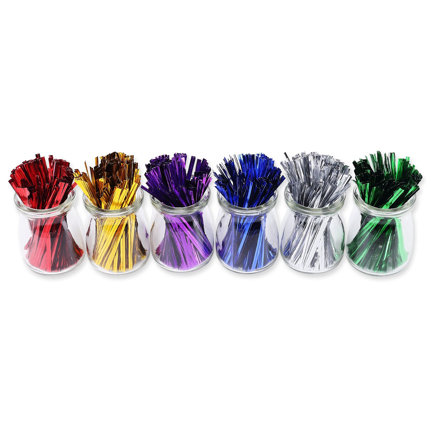 Sago Brothers 1200pcs 4'' Metallic Twist Ties - 6 Colors