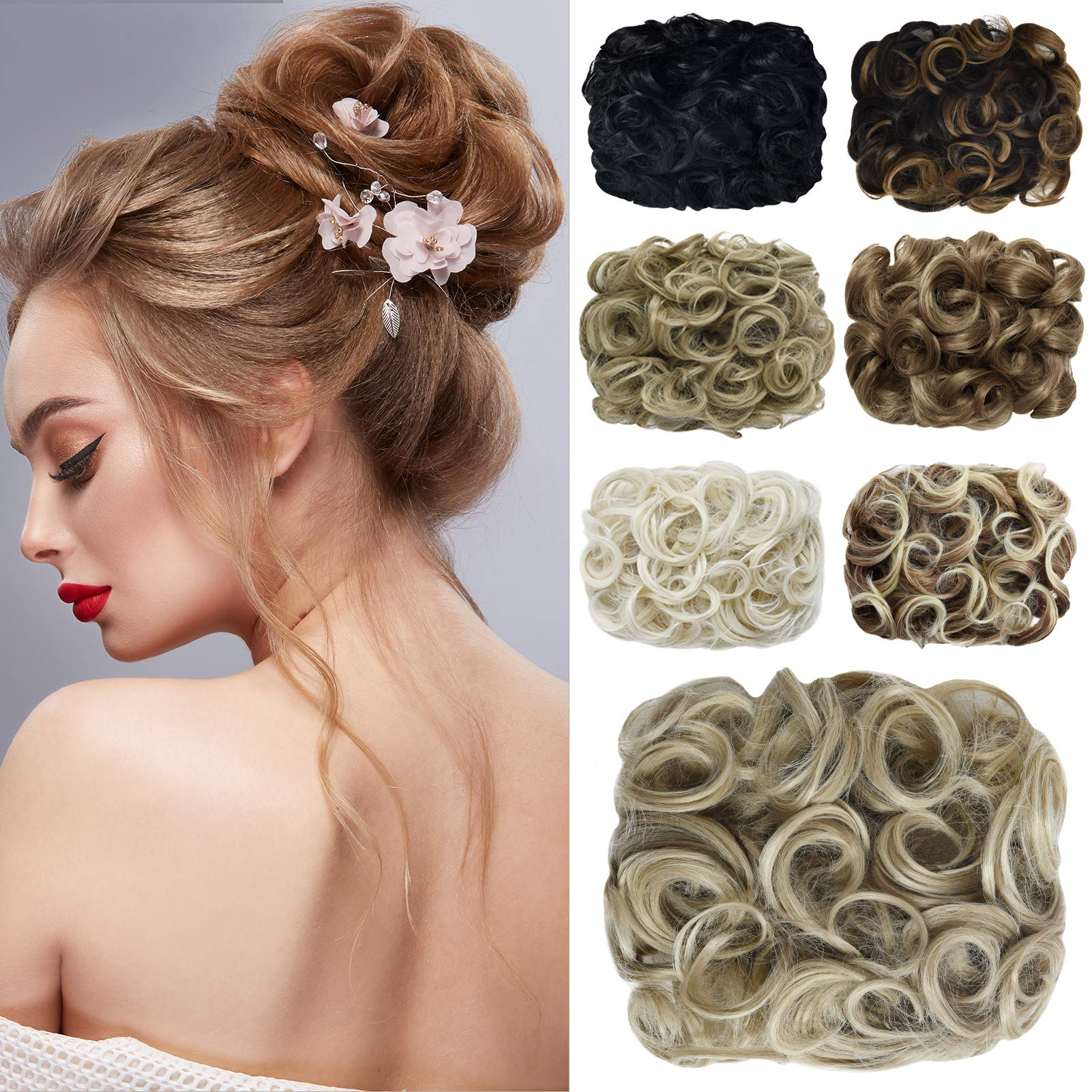 Yamel Messy Bun Scrunchie Combs Clip in Curly Stretch Updo Hair Pieces