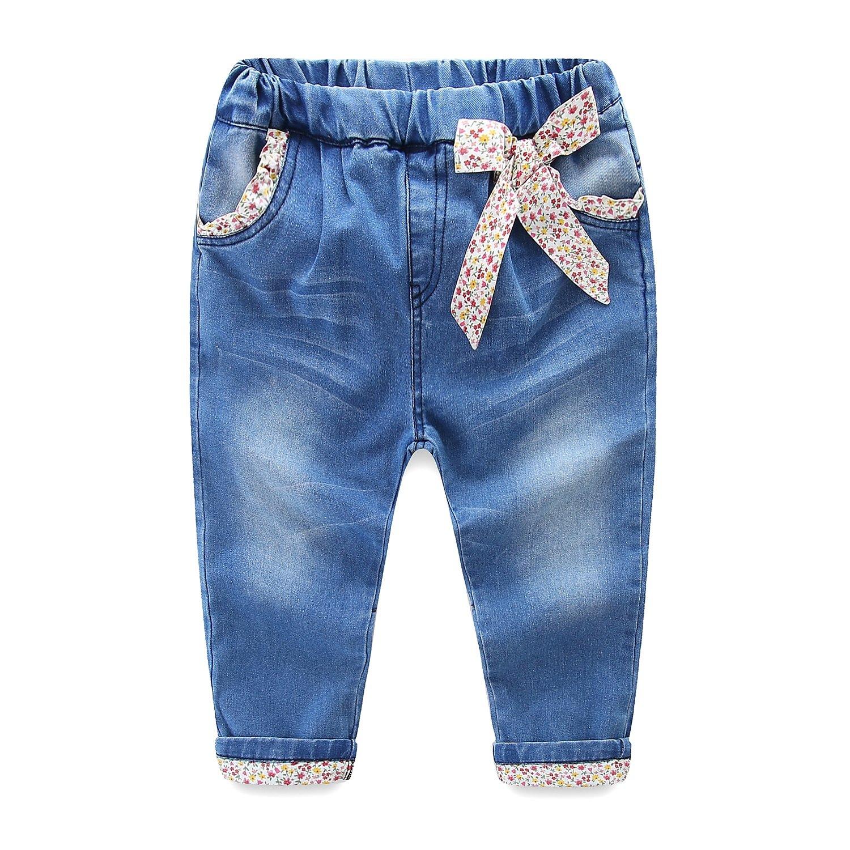 Mud Kingdom Little Girls Jeans Floral Denim Pants Flower 4T