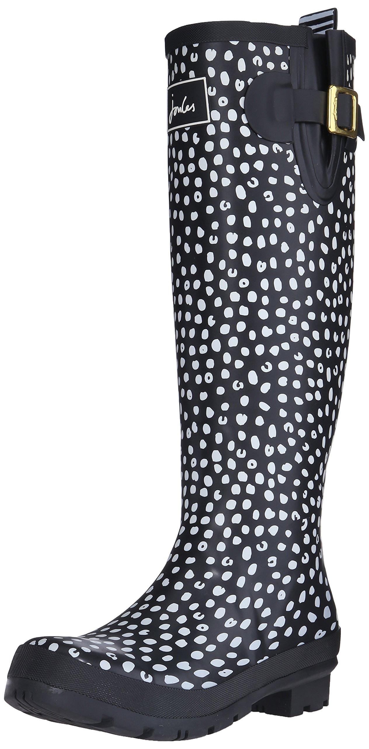 Joules Women's Wellyprint Rain Shoe, Black Spot White, 10 M US