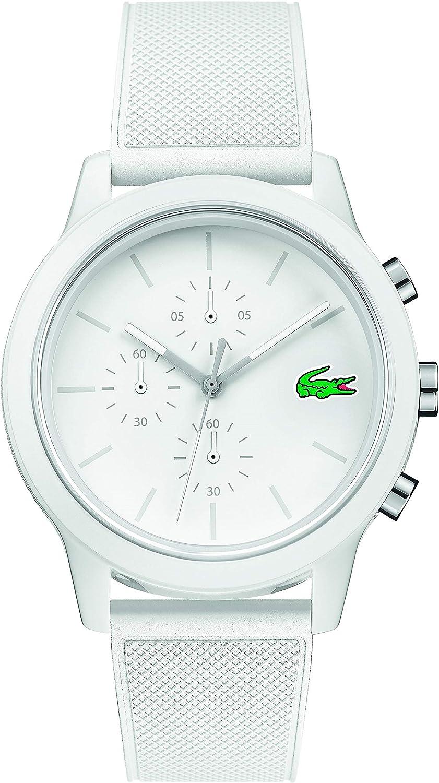 Lacoste TR90 Reloj de cuarzo para hombre con correa de goma, blanco, 21 (modelo: 2010974)