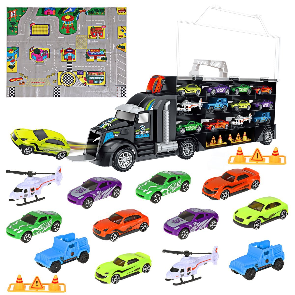 iBaseToy Toy Cars, Transport Car Carrier Truck Educational Vehicles Toy Car Set Toddlers, Kids, Boys Girls (Includes 8 Sports Car, 2 Off-Road Cars, 2 Helicopters, 2 Roadblocks 1 Town Map)