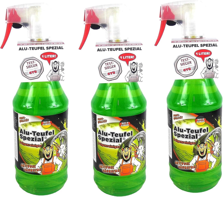 Tuga 3 x 1 Liter Alu-Teufel Felgenreiniger Spezial Säurefreies Aktivgel für Felgen und Radkappen. Biologisch abbbaubar: Amazon.de: Auto - Tuga grün