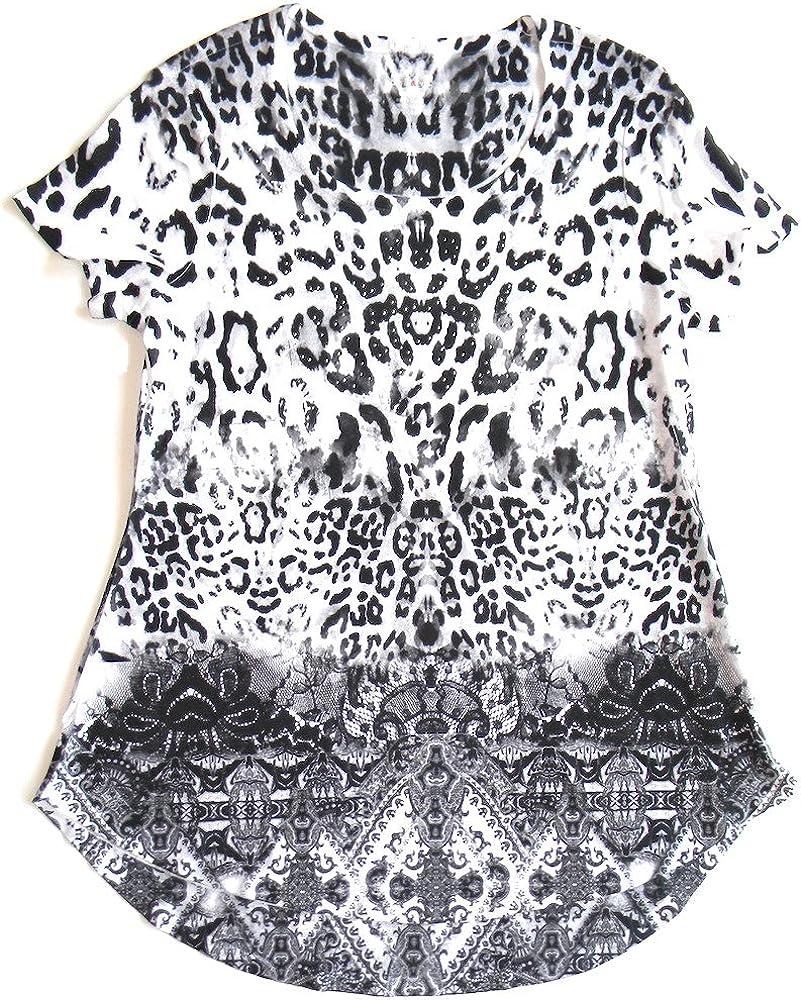 Style /& Co Size M Embellished Short Sleeve Top Bright Flash Black//White
