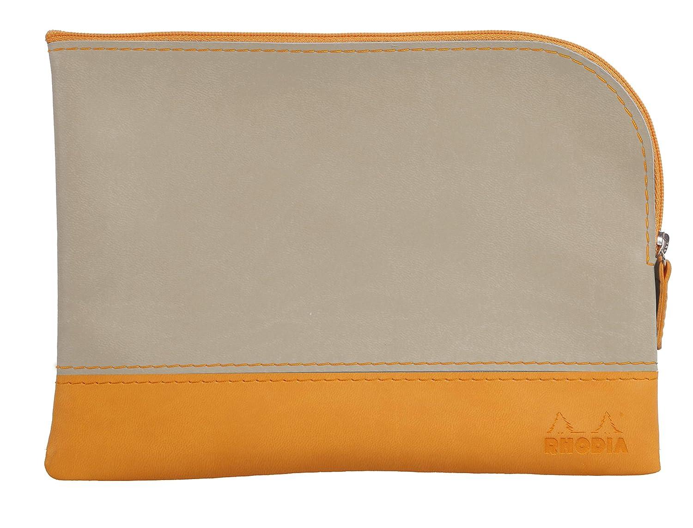 Clairefontaine Rhodiarama Pochette zipp/ée en simili cuir italien Taille M 16 x 22 cm Framboise