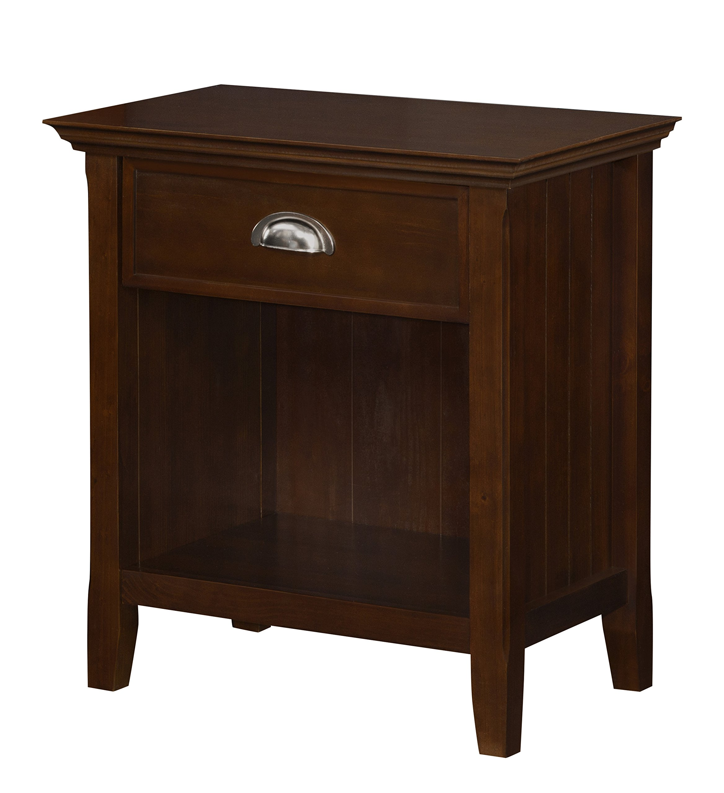 Simpli Home Acadian Solid Wood Bedside Table, Tobacco Brown, Standard