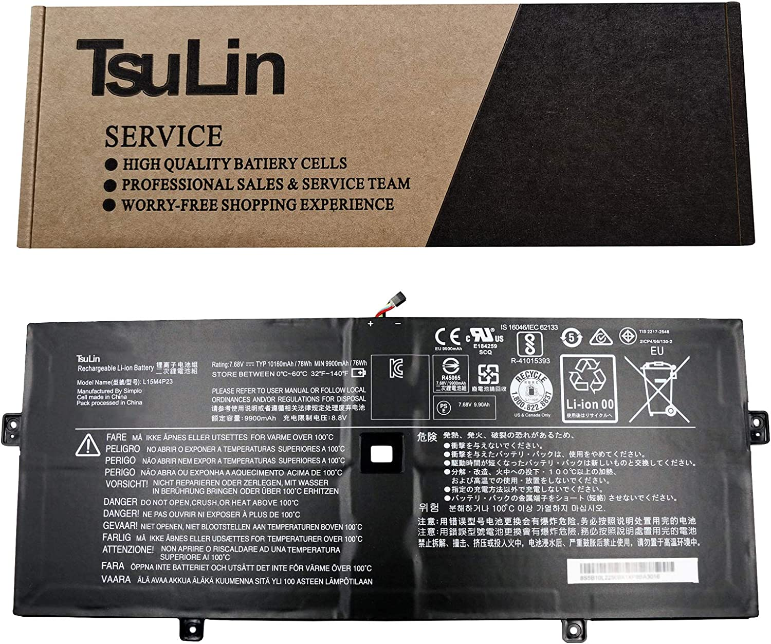 TsuLin L15M4P23 Laptop Battery Replacement for Lenovo Yoga 910 Yoga 5 Pro Series Notebook L15C4P21 L15C4P22 L15M4P21 7.68V 78Wh 10160mAh