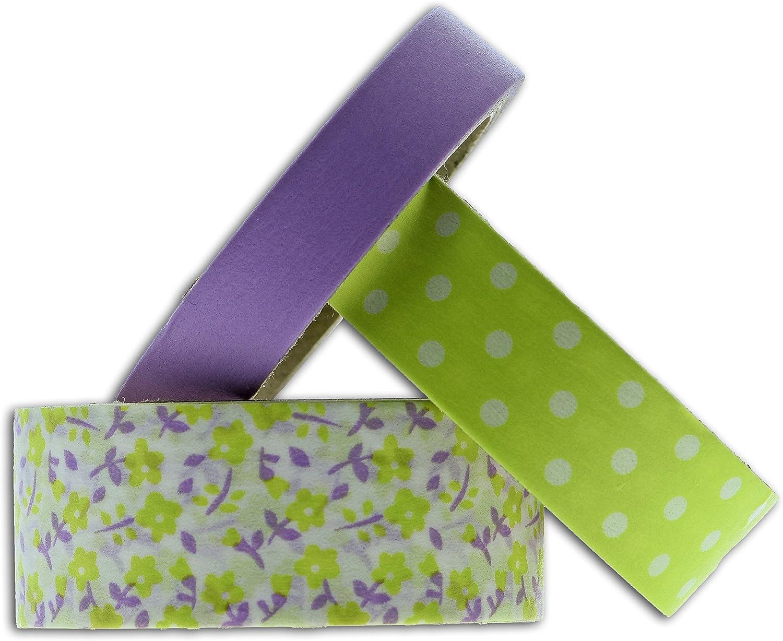 6,5 x 9 x 5 cm Framboise//Vert Anis Toga mt93/3/Masking Tape Flores y Lunares Washi