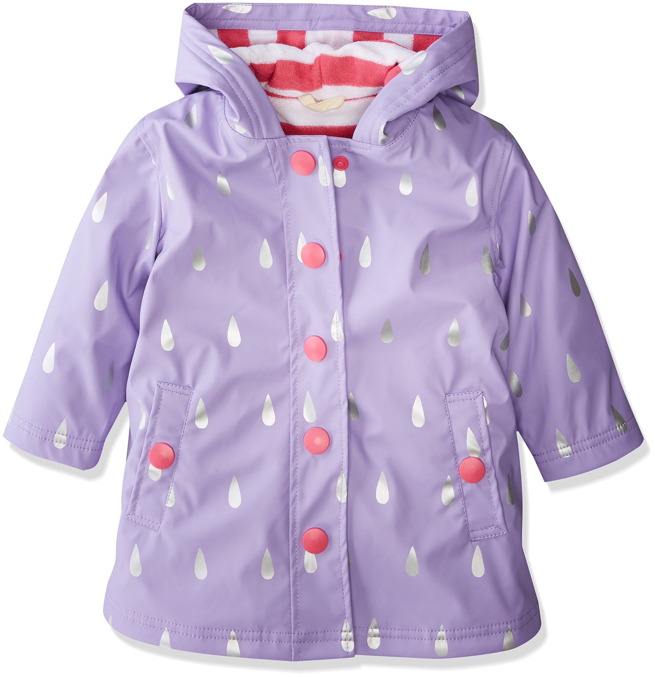 Hatley Little Girls' Splash Jackets, Silver Raindrops, 6
