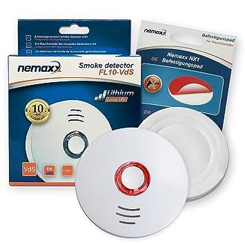 1x Nemaxx FL10VdS - VDS Detector de Humo/Alarma + Pad de fijación - VDS Certificado EN 14604 con Pila ...