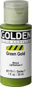 Golden Fluid Acrylic Paint 1 Ounce-Green Gold