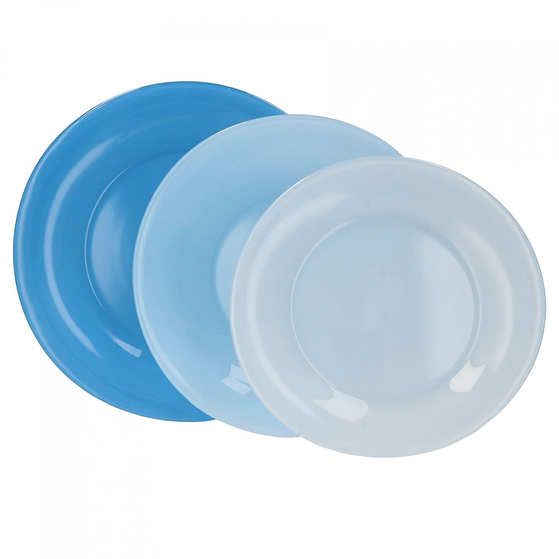 Farbe:blau Bormioli Teller Set 18tlg Glasteller Serie Tone Speiseteller Suppenteller Dessertteller