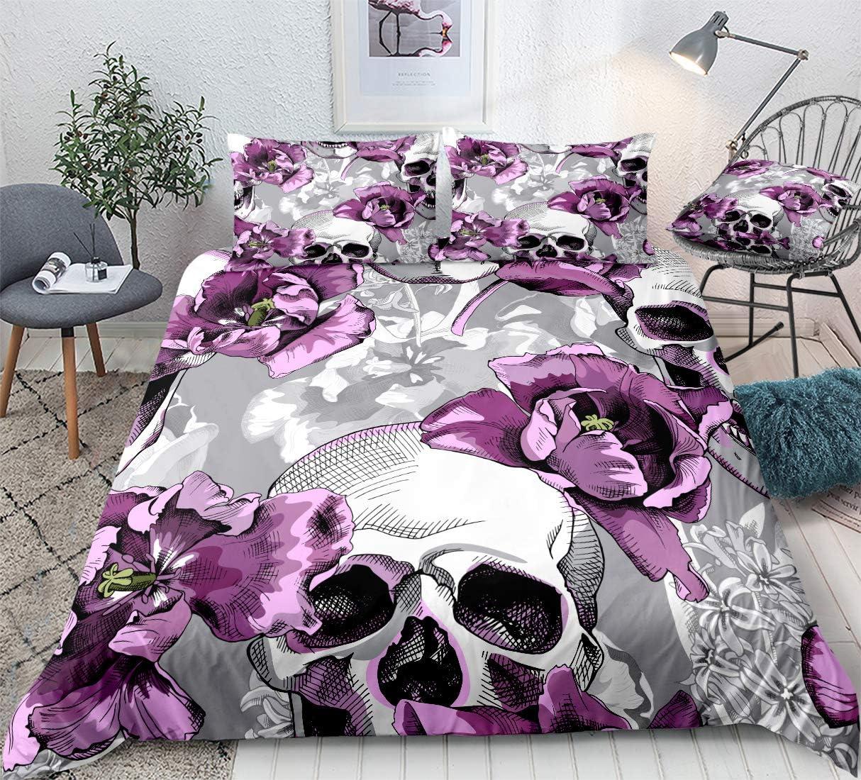 Amazon Com Bedbay Sugar Skull Duvet Cover Set Skull Decor Gothic Bedding Set Purple Flowers And Grey Skull Printed Girls Queen Bedding Set 1 Duvet Cover 2 Pillowcases Purple Queen Kitchen Dining