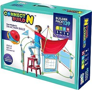 Eezy Peezy Fort Building Kit, Connect n Build Building Toys Builder Pack, 139 Piece Construction Set