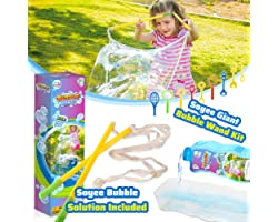 15PCS Giant Bubble Wands Kit with Bubble Solution, Big Bubble Maker with Tray, Fun Summer Toys, Yard Games and Birthday Party