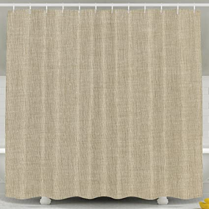 Tan Linen Shower Curtain Art Prints By LitLife Polyester Fabric Bath 72 X Inches